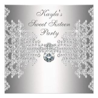 Silver Diamonds White Sweet Sixteen Birthday Party Invite