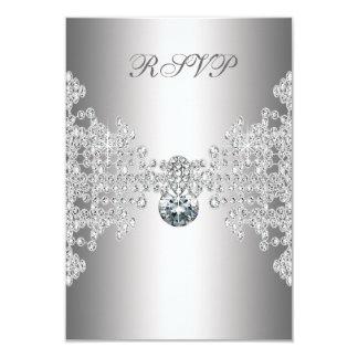 Silver Diamonds White Sweet Sixteen Birthday RSVP 3.5x5 Paper Invitation Card