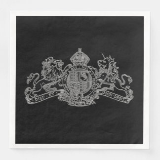 Silver Dieu et Mon Droit British Coat of Arms Paper Dinner Napkin