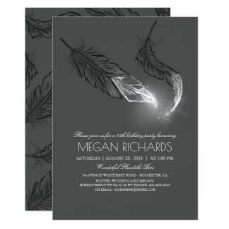 Silver Dipped Feathers Glitter Birthday Party Card