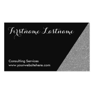 Silver Dipped Glitter Networking Business Cards