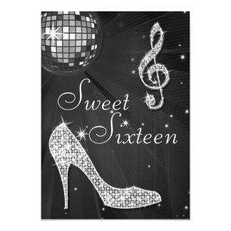 Silver Disco Ball and Sparkle Heels Black Sweet 16 Announcement