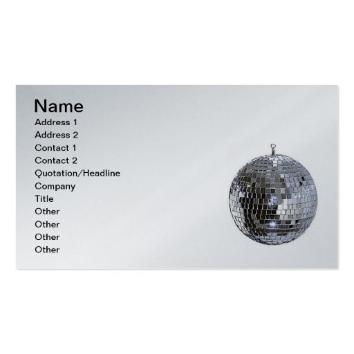 Silver Disco Ball Double-Sided Standard Business Cards (Pack Of 100)