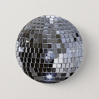Silver Disco Ball Button