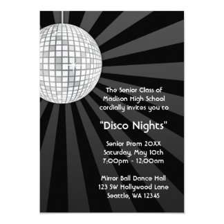 Silver Disco Ball Party Dance Prom Formal Card
