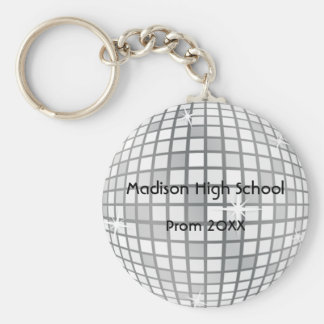 Silver Disco Ball Prom Formal Favor Basic Round Button Keychain