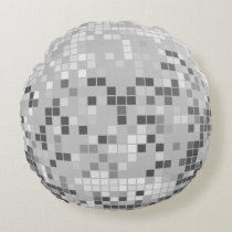 Silver Disco Ball Round Pillow