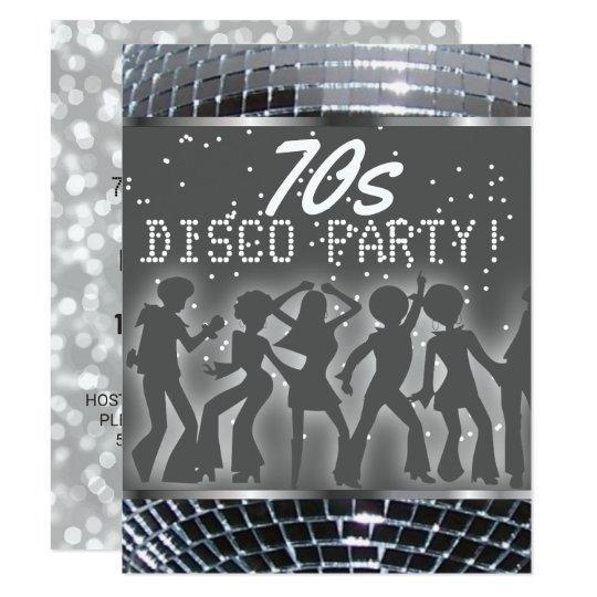 silver disco dance party retro 70 s theme party invitation