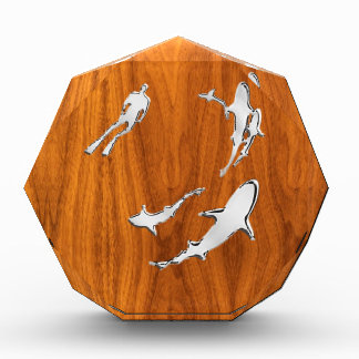 Silver Diver with Sharks on Teak Veneer Style Award