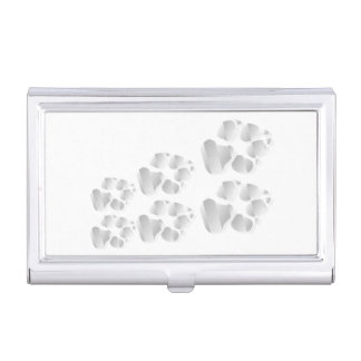 Silver dog paw business card case