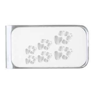 Silver dog paw silver finish money clip