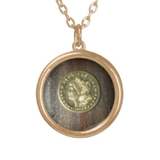 SILVER DOLLAR PILLOW.....GOLD PLATED LADY ROUND PENDANT NECKLACE