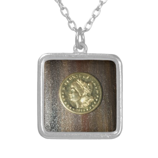 SILVER DOLLAR PILLOW.....GOLD PLATED LADY SILVER PLATED NECKLACE