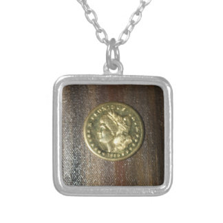 SILVER DOLLAR PILLOW.....GOLD PLATED LADY SQUARE PENDANT NECKLACE