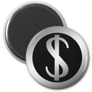 SILVER DOLLAR SIGN 2 INCH ROUND MAGNET