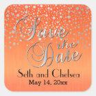 Silver Dots & Orange   Personalize Square Sticker