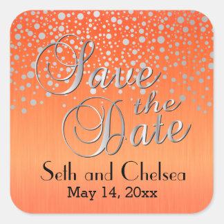 Silver Dots & Orange | Personalize Square Sticker