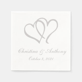 Silver Double Hearts Custom Paper Napkin