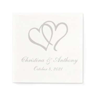 Valentines Themed Silver Double Hearts Custom Paper Napkin