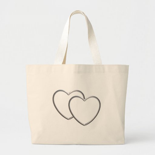 Silver Double Hearts Tote Bag