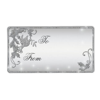 Silver Dove Gift Tag Shipping Label