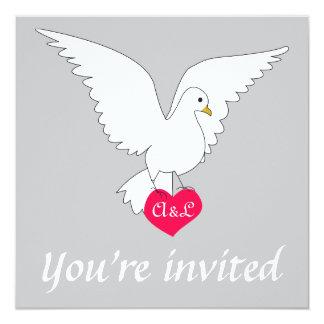 """Silver Dove Wedding Invitation 5.25"""" Square Invitation Card"""