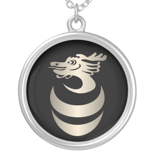 Silver Dragon in Egg Necklace