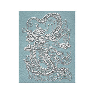 Silver Dragon on Aqua Blue Leather Texture Canvas Print