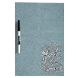 Silver Dragon on Aqua Blue Leather Texture Dry Erase Boards