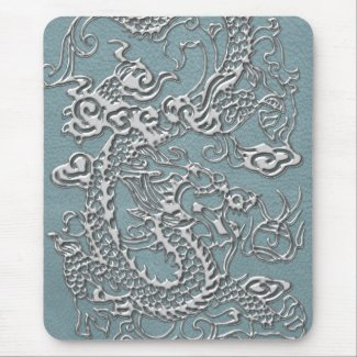 Silver Dragon on Aqua Blue Leather Texture Mouse Pads