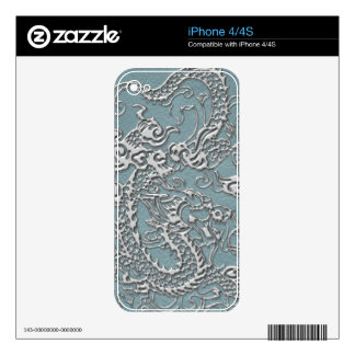 Silver Dragon on Aqua Blue Leather Texture iPhone 4S Decals