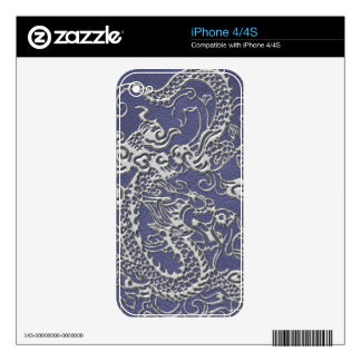 Silver Dragon on Blue Slate Leather Texture Decals For The iPhone 4S