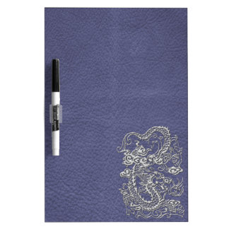 Silver Dragon on Blue Slate Leather Texture Dry-Erase Whiteboard