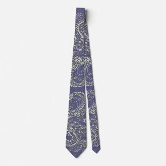 Silver Dragon on Blue Slate Leather Texture Neck Tie