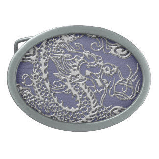 Silver Dragon on Blue Slate Leather Texture Oval Belt Buckle
