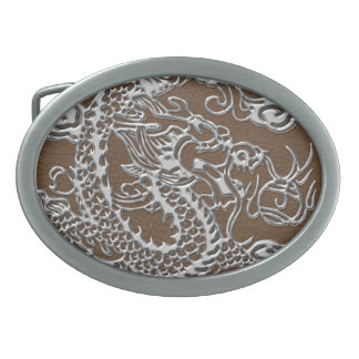 Silver Dragon on Brown Leather Texture Belt Buckle