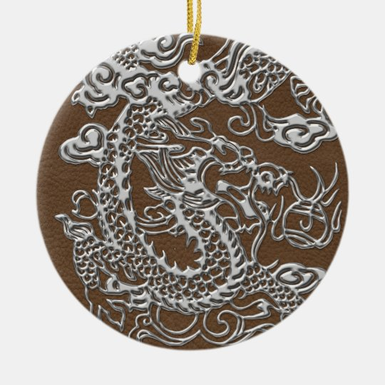 Silver Dragon on Brown Leather Texture Ceramic Ornament