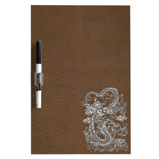 Silver Dragon on Brown Leather Texture Dry Erase Whiteboards