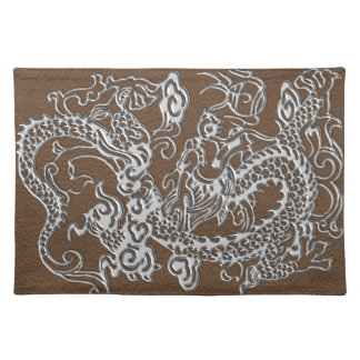 Silver Dragon on Brown Leather Texture Placemat