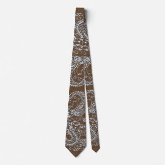 Silver Dragon on Brown Leather Texture Tie