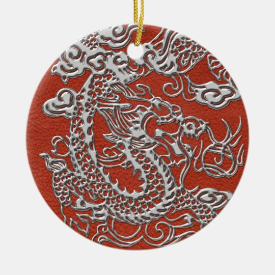 Silver Dragon on Deep Coral Leather Texture Ceramic Ornament