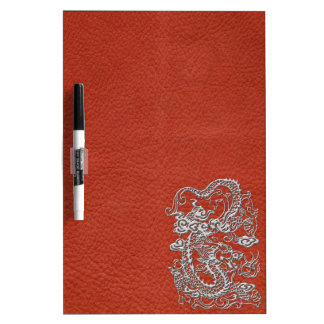 Silver Dragon on Deep Coral Leather Texture Dry Erase Whiteboards
