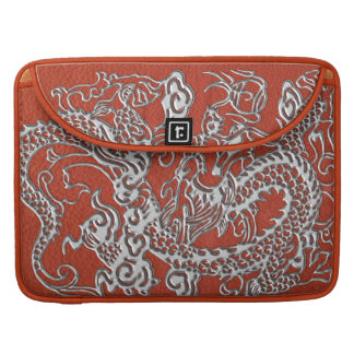 Silver Dragon on Deep Coral Leather Texture MacBook Pro Sleeve