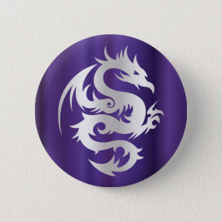 Silver Dragon on Imperial Purple Pinback Button