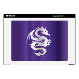 Silver Dragon on Imperial Purple Skin For Acer Chromebook