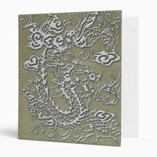 Silver Dragon on Khaki Leather Texture 3 Ring Binder
