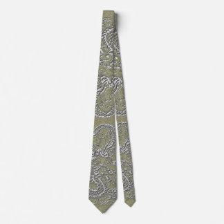 Silver Dragon on Khaki Leather Texture Tie