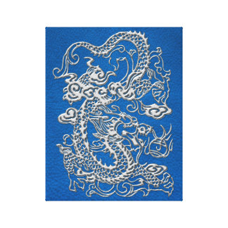 Silver Dragon on lapis Blue Leather Texture Canvas Print