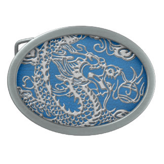 Silver Dragon on lapis Blue Leather Texture Oval Belt Buckle