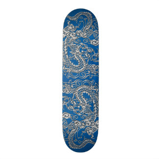 Silver Dragon on lapis Blue Leather Texture Skateboard Deck